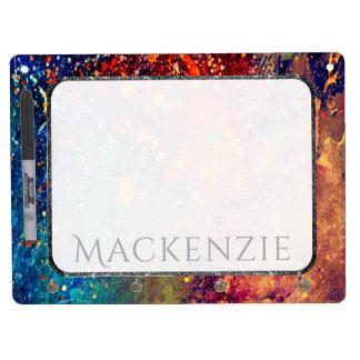 Tumultuous Kitchen | Name Chic Rainbow Splatter Dry Erase Board With Keychain Holder