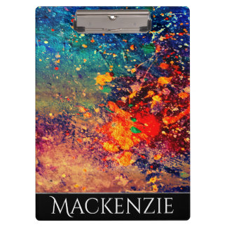 Tumultuous Office | Monogram Chic Rainbow Splatter Clipboard