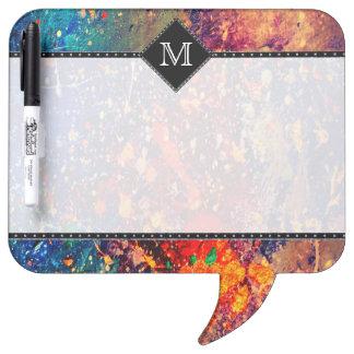 Tumultuous Office   Monogram Chic Rainbow Splatter Dry Erase Board