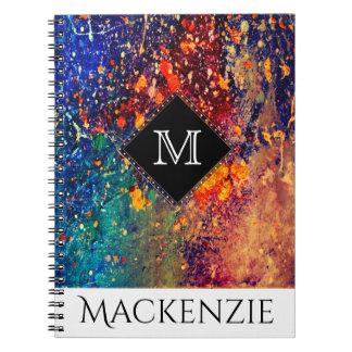 Tumultuous Office | Monogram Name Rainbow Splatter Notebook