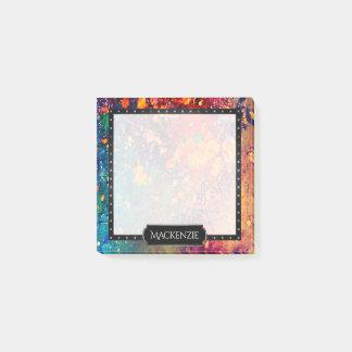Tumultuous Office | Name Rainbow Splatter Abstract Post-it Notes