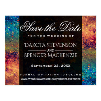 Tumultuous Wedding | Save the Date Rainbow Nebula Postcard