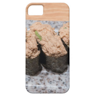 Tuna Salad Sushi trio on ceramic plate closeup Case For The iPhone 5