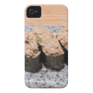 Tuna Salad Sushi trio on ceramic plate closeup iPhone 4 Case