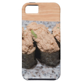 Tuna Salad Sushi trio on ceramic plate closeup iPhone 5 Case