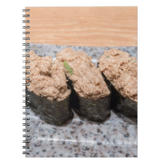 Tuna Salad Sushi trio on ceramic plate closeup Notebook