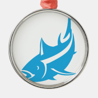 Tuna Silver-Colored Round Ornament