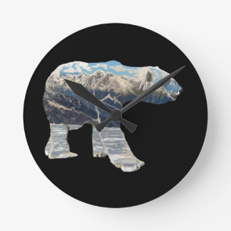 Tundra Polar Bear Round Clock