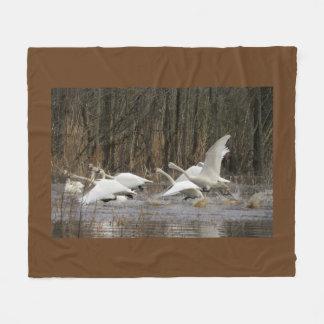 Tundra Swan Birds Wildlife Animal Fleece Blanket