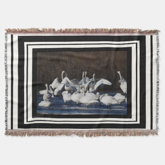 Tundra Swan Birds Wildlife Dance Stripes Throw