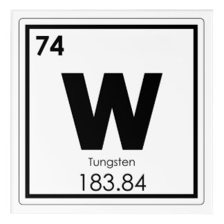Tungsten chemical element symbol chemistry formula acrylic wall art