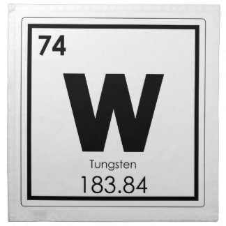 Tungsten chemical element symbol chemistry formula napkin