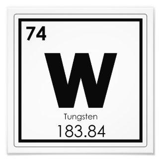 Tungsten chemical element symbol chemistry formula photo print