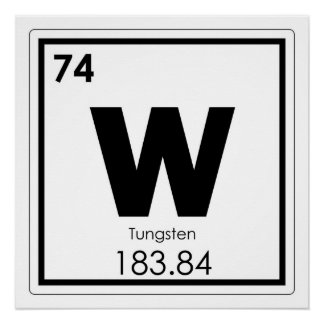 Tungsten chemical element symbol chemistry formula poster