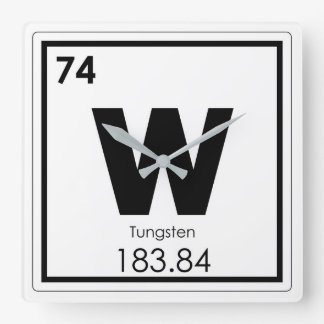 Tungsten chemical element symbol chemistry formula square wall clock