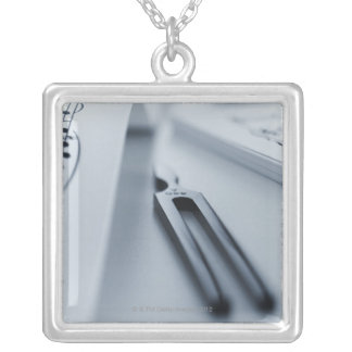Tuning Fork Silver Plated Necklace