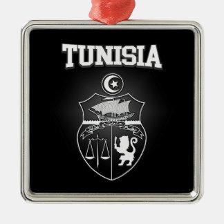 Tunisia Emblem Silver-Colored Square Ornament