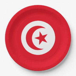 Tunisia Flag 9 Inch Paper Plate