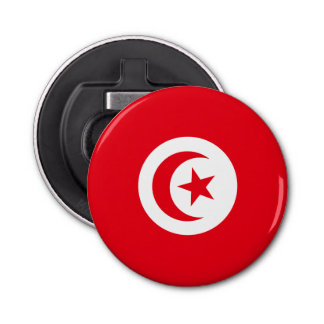 Tunisia Flag Button Bottle Opener