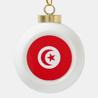 Tunisia Flag Ceramic Ball Christmas Ornament