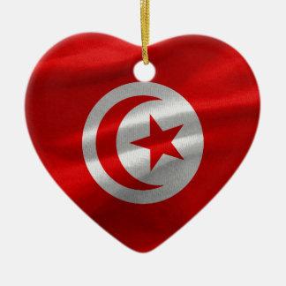 Tunisia Flag Ceramic Heart Ornament
