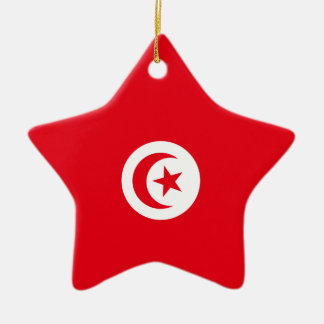 Tunisia Flag Ceramic Star Ornament