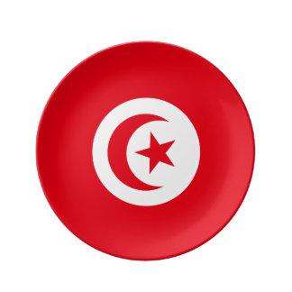 Tunisia Flag Porcelain Plate