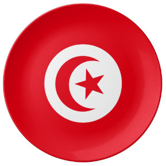 Tunisia Flag Porcelain Plates