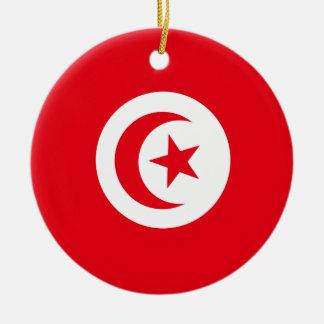 Tunisia Flag Round Ceramic Ornament