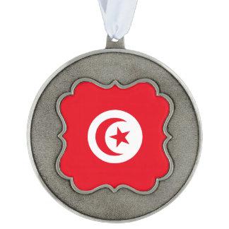 Tunisia Flag Scalloped Pewter Ornament