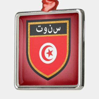 Tunisia Flag Silver-Colored Square Ornament