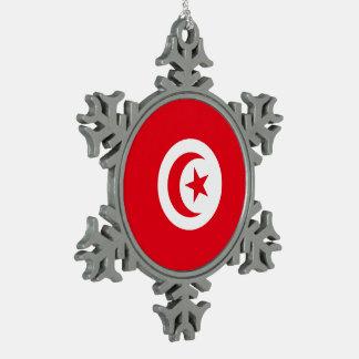 Tunisia Flag Snowflake Pewter Christmas Ornament