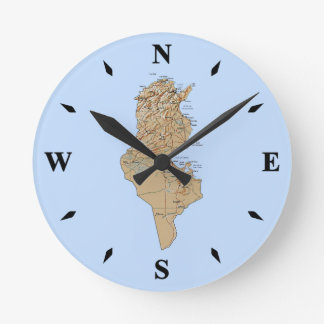 Tunisia Map Clock