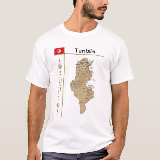 Tunisia Map + Flag + Title T-Shirt