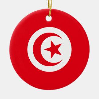 Tunisia National World Flag Round Ceramic Ornament