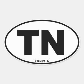 Tunisia TN Oval ID Identification Code Initials Oval Sticker