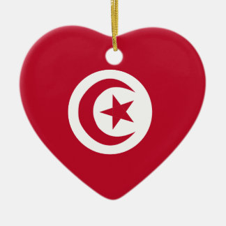 Tunisian flag ceramic heart ornament