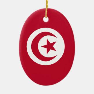Tunisian flag ceramic oval ornament