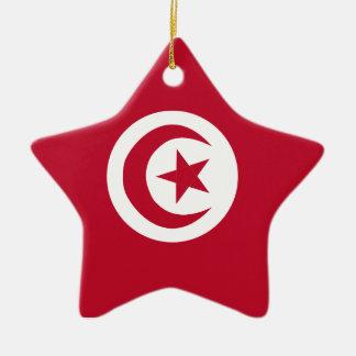 Tunisian flag ceramic star ornament