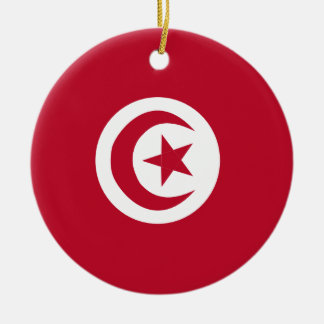 Tunisian flag round ceramic ornament