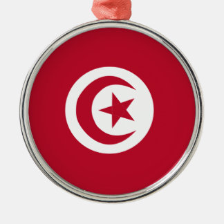 Tunisian flag Silver-Colored round ornament