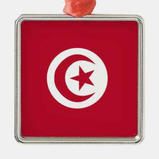 Tunisian flag Silver-Colored square ornament