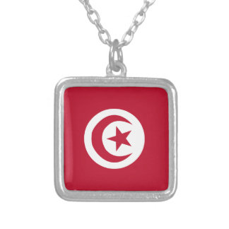 Tunisian flag silver plated necklace