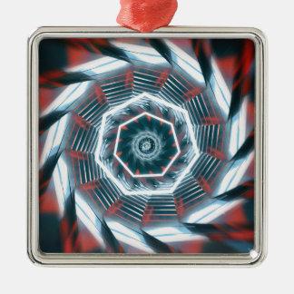 Tunnel Abstract Silver-Colored Square Ornament