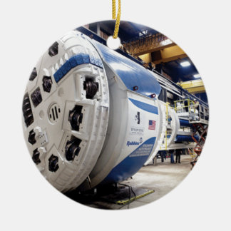 Tunnel Boring Machine Round Ceramic Ornament
