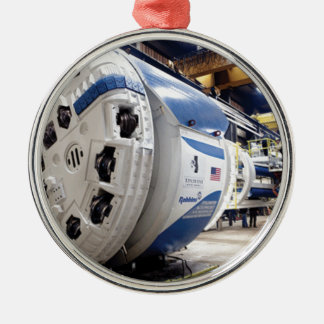 Tunnel Boring Machine Silver-Colored Round Ornament