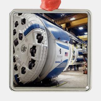 Tunnel Boring Machine Silver-Colored Square Ornament