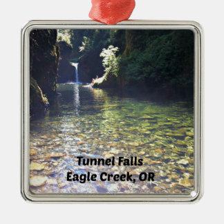 Tunnel Falls, Eagle Creek, Oregon Silver-Colored Square Ornament