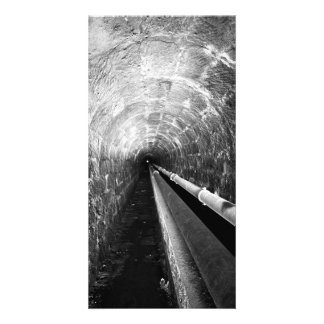 Tunnel in black and white photo card template