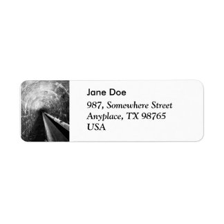 Tunnel in black and white return address label